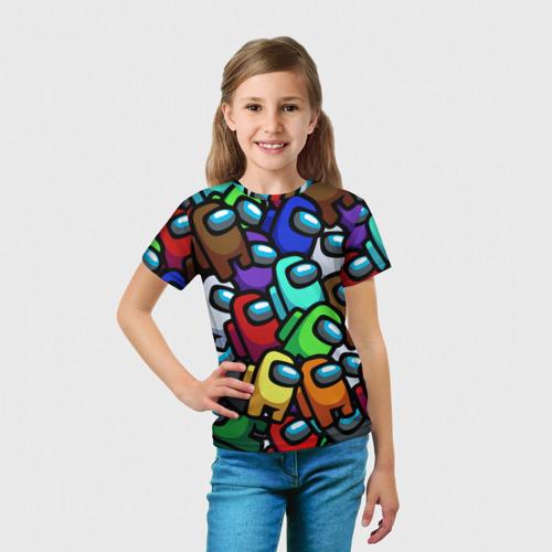Детская 3D футболка с принтом Among us, вид сбоку #3