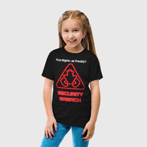 Детская футболка с принтом FNaF Security Breach, вид сбоку #3