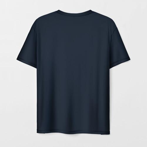 Мужская 3D футболка с принтом Космонавт с гитарой, вид сзади #1