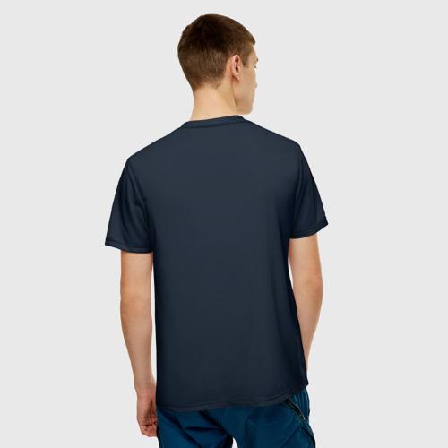 Мужская 3D футболка с принтом Космонавт с гитарой, вид сзади #2