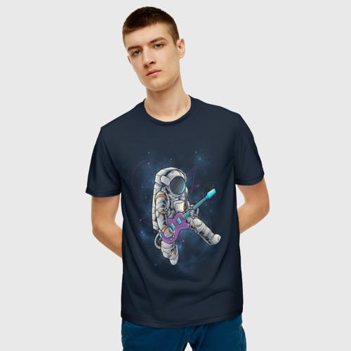 Мужская 3D футболка с принтом Космонавт с гитарой, фото на моделе #1