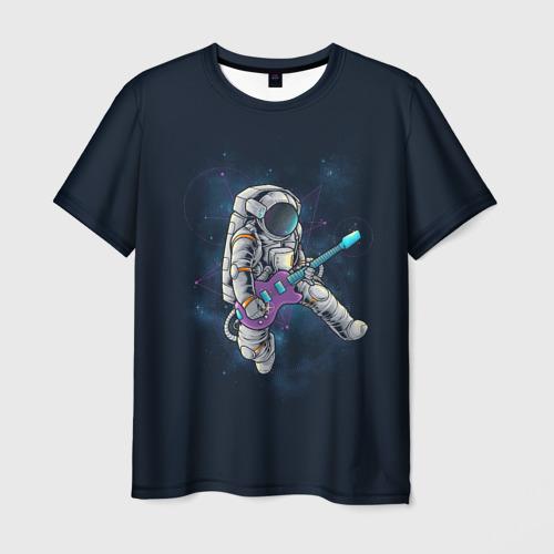Мужская 3D футболка с принтом Космонавт с гитарой, вид спереди #2