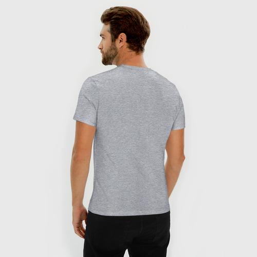 Мужская футболка премиум с принтом Таксы и йога, вид сзади #2