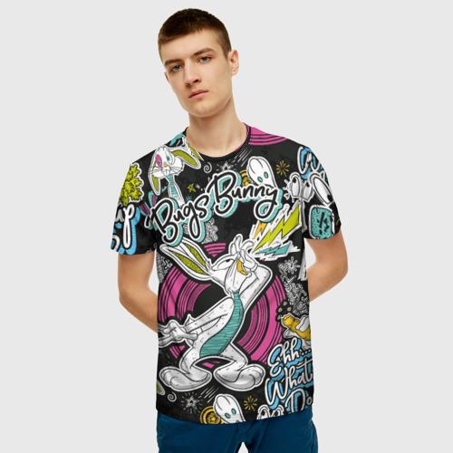 Мужская 3D футболка с принтом Багз Банни, фото на моделе #1
