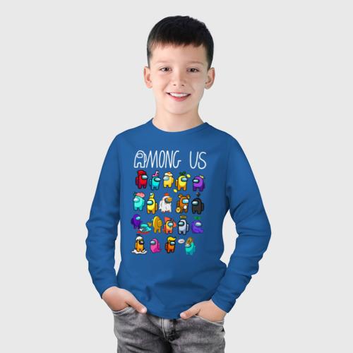 Детский хлопковый лонгслив с принтом AMONG US, фото на моделе #1