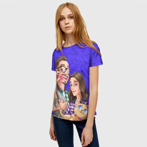 Женская 3D футболка с принтом Эдисон и Катя, фото на моделе #1