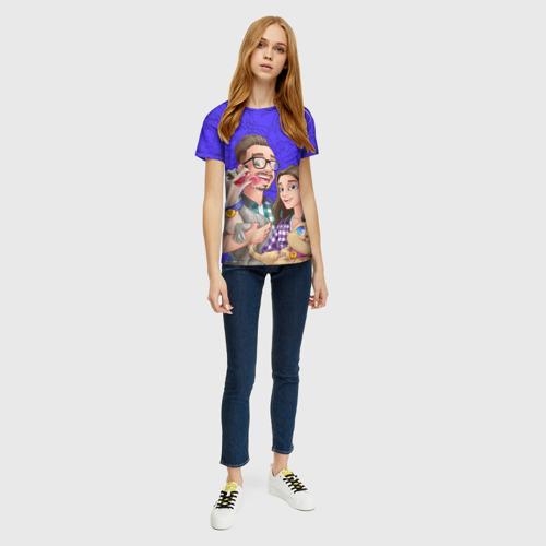 Женская 3D футболка с принтом Эдисон и Катя, вид сбоку #3