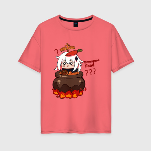 Женская футболка oversize Genshin Impact | Paimon food