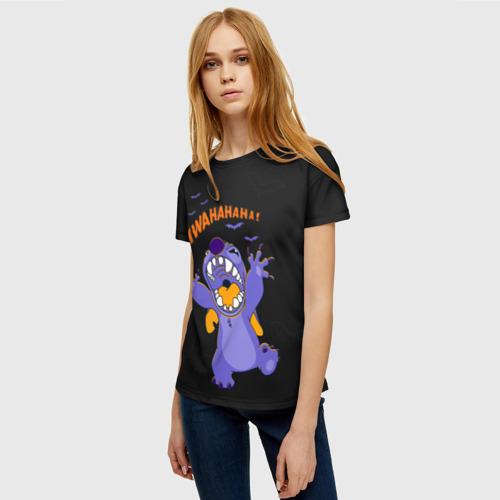 Женская 3D футболка с принтом Стич пугает, фото на моделе #1
