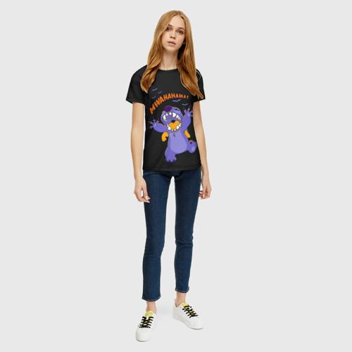 Женская 3D футболка с принтом Стич пугает, вид сбоку #3
