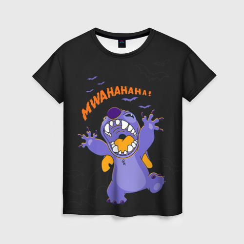 Женская 3D футболка с принтом Стич пугает, вид спереди #2