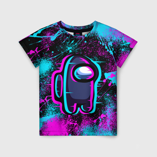 Детская 3D футболка NEON AMONG US | НЕОН АМОНГ АС