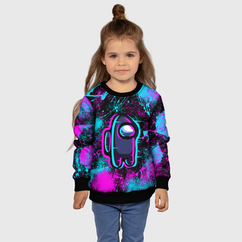 Детский 3D свитшот с принтом NEON AMONG US | НЕОН АМОНГ АС, фото #4