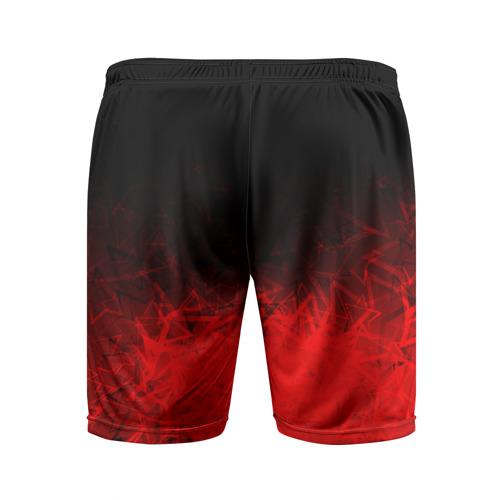 Мужские шорты 3D спортивные с принтом КРАСНО-ЧЕРНЫЙ ГРАДИЕНТ, вид сзади #1