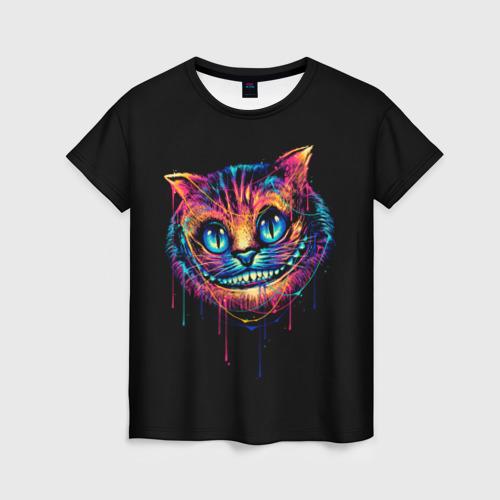 Женская 3D футболка Чеширский Кот