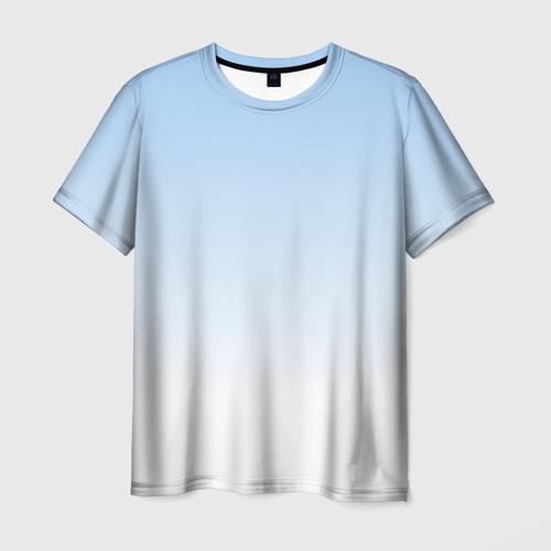 Мужская 3D футболка Небесно-голубой градиент