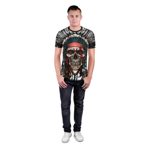 Мужская футболка 3D спортивная с принтом Череп индейца, вид сбоку #3