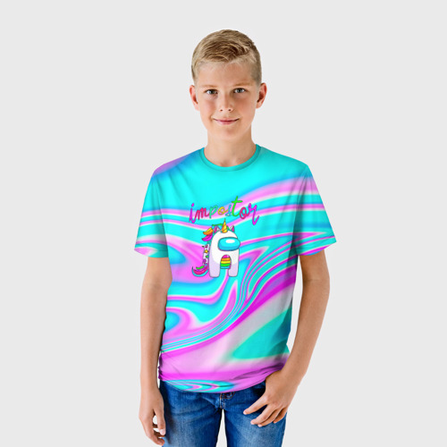 Детская 3D футболка с принтом Impostor Unicorn, фото на моделе #1
