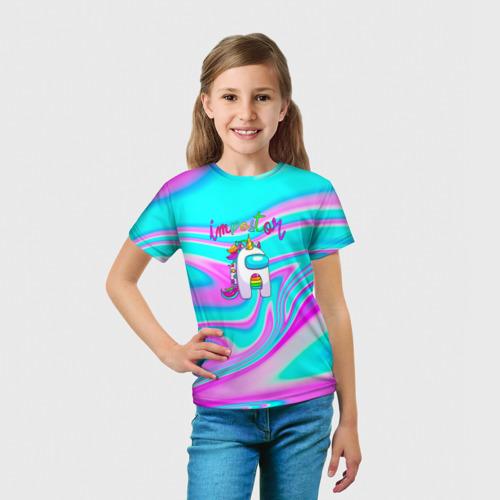 Детская 3D футболка с принтом Impostor Unicorn, вид сбоку #3