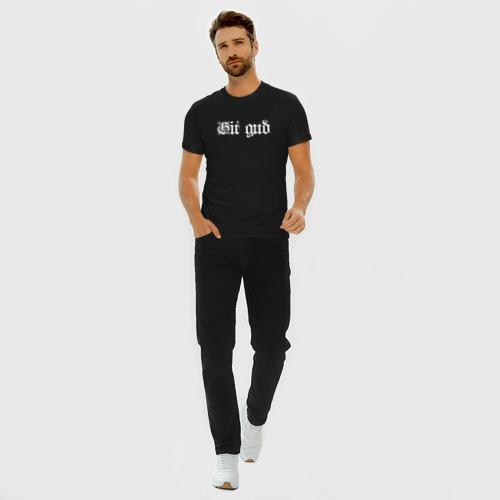 Мужская футболка премиум с принтом Git gud, вид сбоку #3