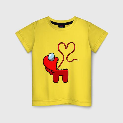 Детская футболка с принтом Among Us Red Imposter Love, вид спереди #2