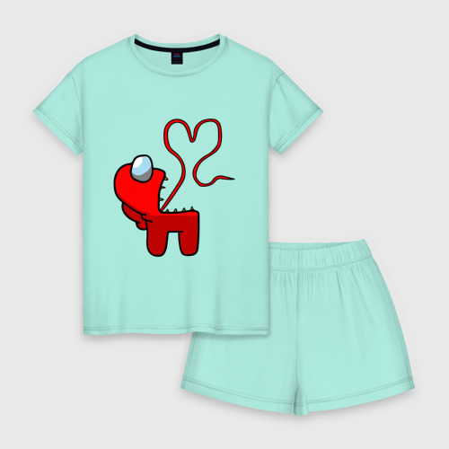 Женская пижама с шортиками хлопок Among Us Red Imposter Love