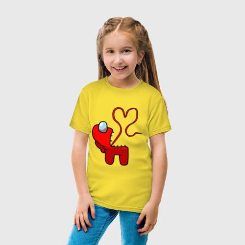 Детская футболка с принтом Among Us Red Imposter Love, вид сбоку #3