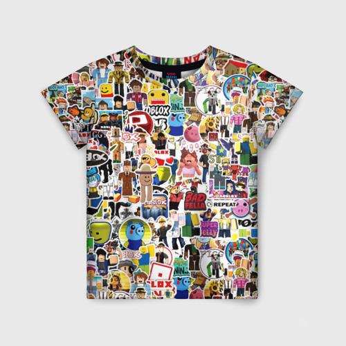 Детская 3D футболка с принтом Roblox | Роблокс, вид спереди #2