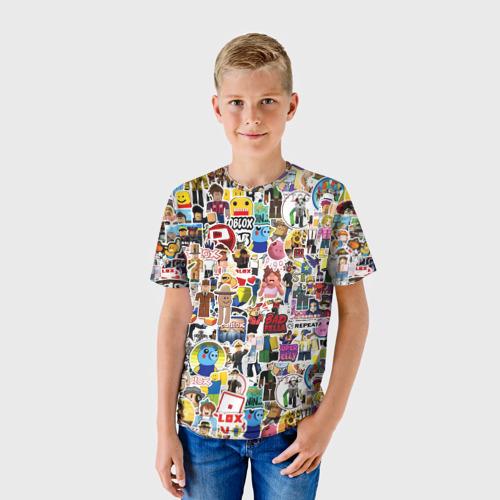 Детская 3D футболка с принтом Roblox | Роблокс, фото на моделе #1