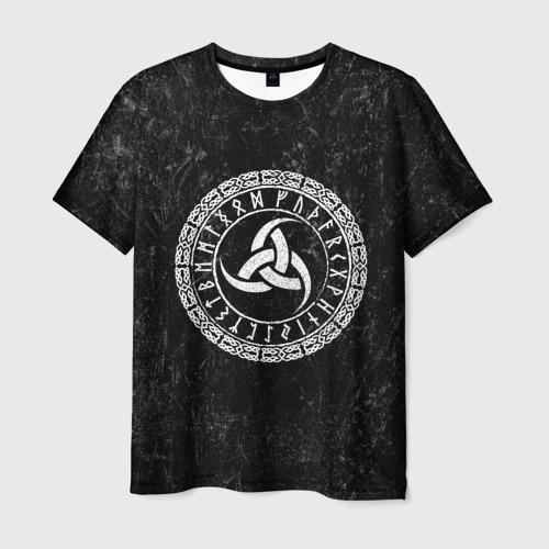 Мужская 3D футболка с принтом Рог Одина, вид спереди #2