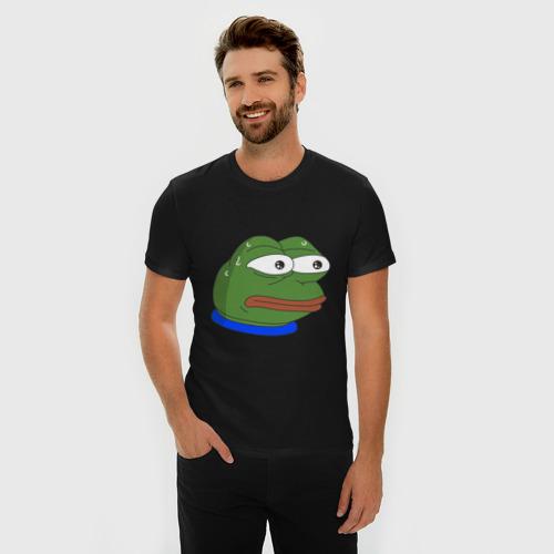 Мужская футболка премиум с принтом Pepe MonkaS, фото на моделе #1