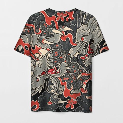 Мужская 3D футболка с принтом Самурай (Якудза, драконы), вид сзади #1