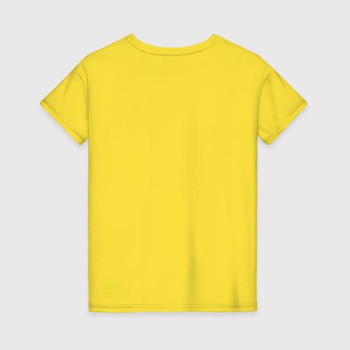 Женская футболка с принтом Сойка на ветке, вид сзади #1