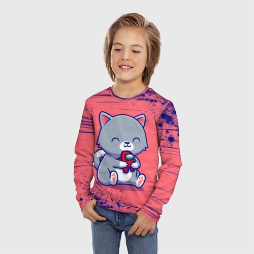 Детский лонгслив 3D с принтом AMONG US - С КОТИКОМ, фото на моделе #1