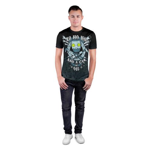 Мужская футболка 3D спортивная с принтом Йохохо и канистра масла, вид сбоку #3