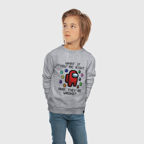 Детский свитшот хлопок с принтом AMONG US - FARGO, вид сбоку #3