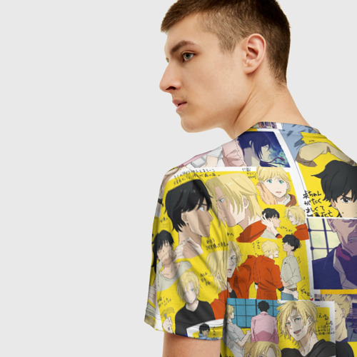 Мужская 3D футболка с принтом BANANA FISH, вид сзади #2