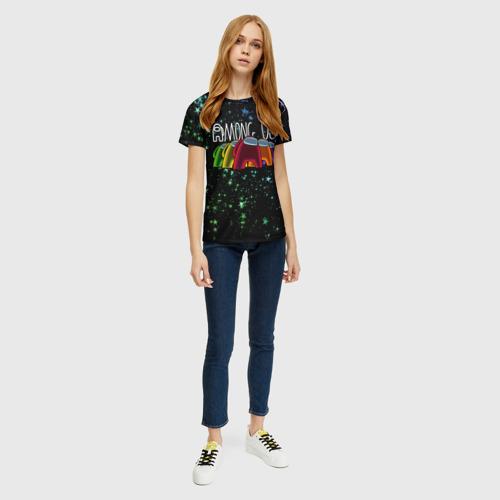 Женская 3D футболка с принтом AMONG US, вид сбоку #3