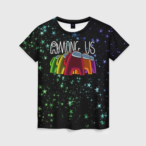 Женская 3D футболка с принтом AMONG US, вид спереди #2