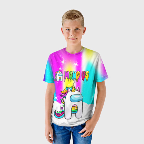 Детская 3D футболка с принтом AMONG US UNICORN, фото на моделе #1