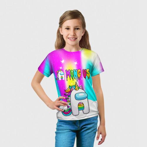 Детская 3D футболка с принтом AMONG US UNICORN, вид сбоку #3