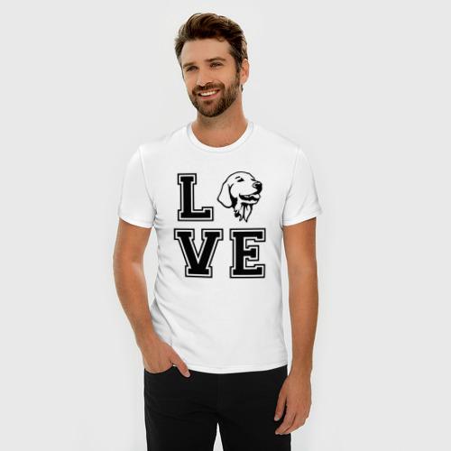 Мужская футболка премиум с принтом Лабрадор, фото на моделе #1