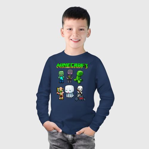 Детский хлопковый лонгслив с принтом Minecraft, фото на моделе #1