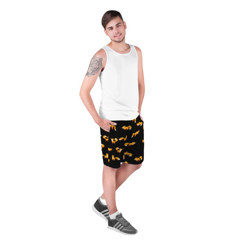 Мужские шорты 3D с принтом Лисы, фото на моделе #1