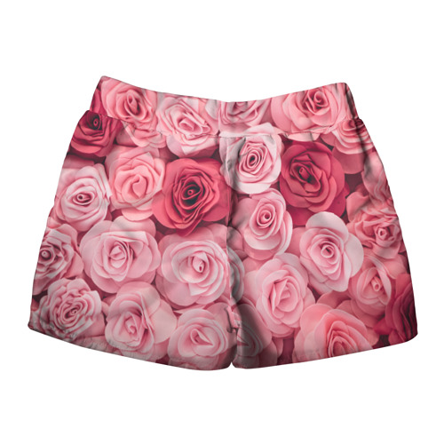 Женские шорты 3D с принтом Розовые Розы, вид сзади #1