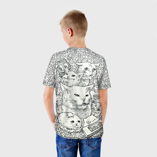 Детская 3D футболка с принтом Коты мемы кошки, вид сзади #2