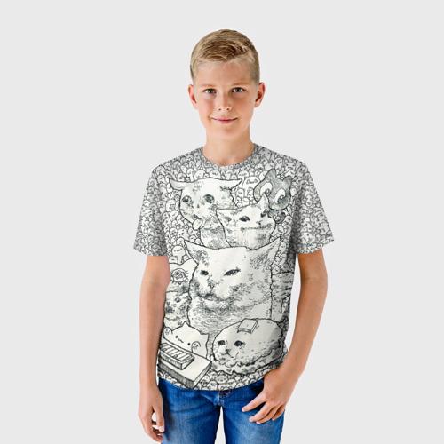 Детская 3D футболка с принтом Коты мемы кошки, фото на моделе #1