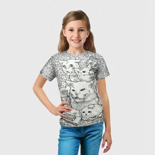 Детская 3D футболка с принтом Коты мемы кошки, вид сбоку #3