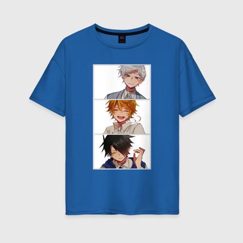 Женская футболка oversize с принтом Обещанный неверленд, вид спереди #2
