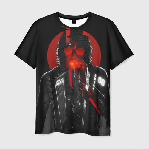 Мужская 3D футболка с принтом Cyberpunk 2077 | Джонни, вид спереди #2